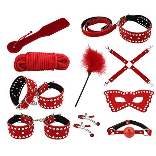 BGDDR 10 STÜCKE Heißer Anzug Pu-Leder Kit, Erwachsene geschlechtsspielwaren Wildleder eingelegten Strass Pelz Handschellen Kostüm für Frauen Weibliche Heimgebrauch,Red (Für Frauen Twin-kostüme)