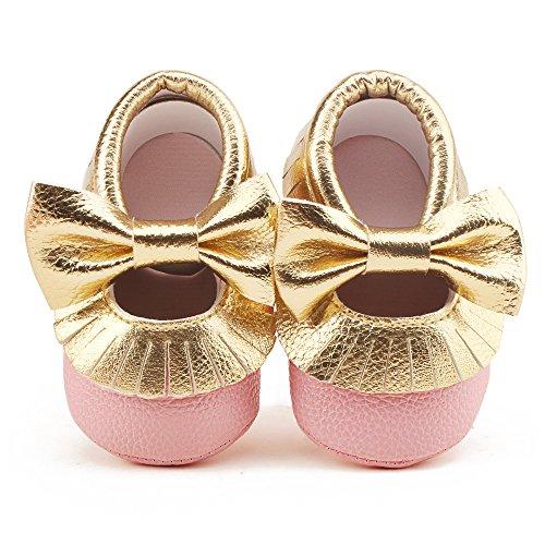 DELEBAO Babyschuhe Krabbelschuhe Leder Baby Lauflernschuhe Neugeborene Erste Schuhe Lederschuhe Weiche Sohle mit Quaste und Bowknot (Gold&Pink,6-12 Monate)