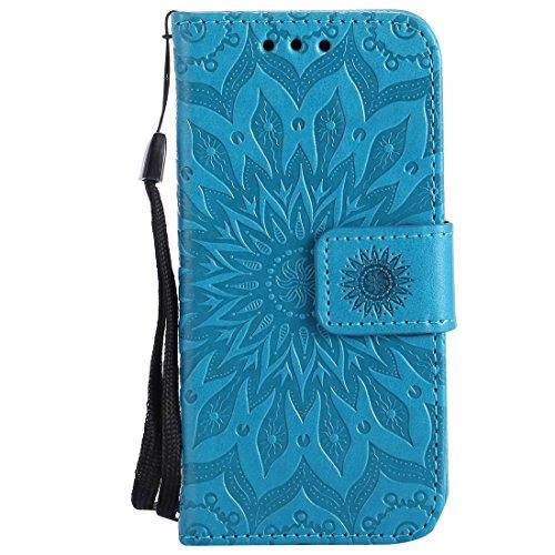 Chreey iPod Touch 5 / Touch 6 Hülle, [Prägung Indische Sonne] Lederhülle Sonnen Blume Brieftasche Wallet Tasche Magnet Flip Case Handyhülle Etui mit Kartenfach Ständer [Blau]