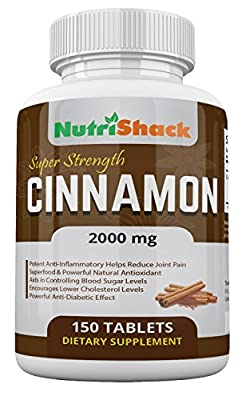 CEYLON Cinnamon 2000mg 150 Tablets - High Potency - Blood Sugar Control - Powerful Natural Antioxidant - Potent Anti-Inflammatory - Encourages Lower Cholesterol Levels - Powerful Anti-Diabetic Effect - Natural Herbal Food Supplement