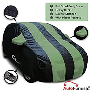 Autofurnish Stylish Green Stripe Car Body Cover for Hyundai Fluidic Verna 4S - Arc Blue