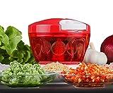 LLQ Gemüsehobel Manuell Zerkleinerer Küchenmaschine, Zwiebelschneider Multi Zerkleinerer mit 5 Klingen Küchenhelfer für Babynahrung, Gemüse,Früchte,Fleisch(Rot)