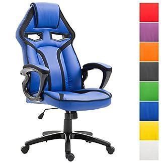 CLP Silla De Oficina Racing Chicane En Cuero Sintético I Silla Gaming Regulable En Altura I Silla Ordenador Ergonómica & con Ruedas I Color: Azul