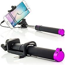 Saxonia Palo Selfie Stick con el cable AUX Botón Cámara Disparador Integrado (sin Bluetooth y la batería) | Universal Smartphone Autorretrato Soporte Extensible Pink