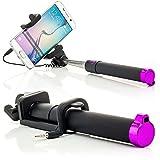 Saxonia Selfie Stick Stange Stab mit AUX Kabel Auslöseknopf (ohne Bluetooth, batterielos) | Universal Handy Kamera Halterung Pink