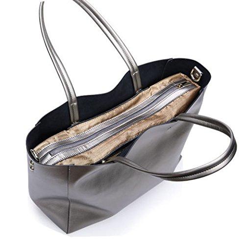 Greeniris Genuine Leather Handbags Women Shoulderbag Totes Braun Blau