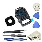 EWPARTS for Samsung galaxy S7 / S7 edge Kamera Objektiv Abdeckung Ringe Glas + Aufklebers + Werkzeuge + Reinigungstuch , S7 Edge Hintere Camera Glas (Schwarz)
