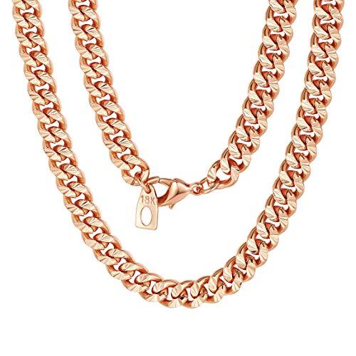 ChainsPro 925 Sterling Silber Halskette für Herren Kette ohne Anhänger- Roségold - Flache Panzerkette 7 mm