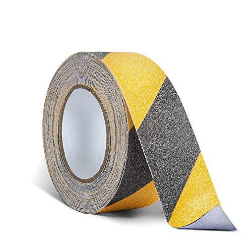 Nastro antiscivolo di sicurezza per gradini di scale, 5 cm x 10 m, con battistrada antiscivolo ad alta trazione, forte aderenza adesiva, nastro adesivo di pericolo, colore: nero/giallo