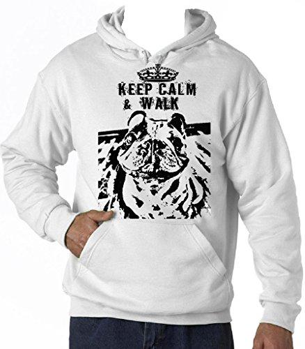 Teesquare1st Men's FRENCH BULLDOG KEEP CALM & WALK PB 16 White Hoodie T-Shirt Size XXLarge