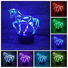 3D Illusion Lamp Puzzle Horse Led Night Light, USB Powered 7 Color Changing Horse Lamps Table Desk LED Illusion Lamp Horse Decor for Girls Room Kids Birthday Gift Xmas Gift Party Decor
