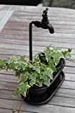 Metal Double Table Top Plant Holder With Ornate Tap Feature With an Antique Copper Finish