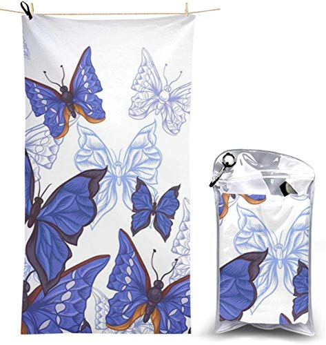 congminbai Strandtücher Blaue Schmetterlinge Schnelltrocknendes Handtuch Decke Sandfreie Handtücher Saugfähiges Badetuch Travel Spa Swim