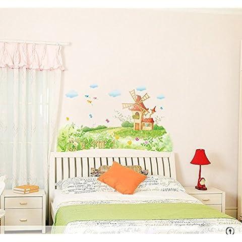 ufengke® Molinos de Viento y las Granjas de Dibujos Animados de Estilo Pastoral Pegatinas de Pared, Sala de Estar Dormitorio Removible Etiquetas de la pared / Murales