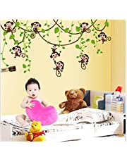 Oren Empower (2 Sheets/Pkg) Monkey Cartoon PVC Vinyl Medium Wall Sticker for Kids Bedroom (Finished Size on Wall - 150(w) x 47(h) cm)