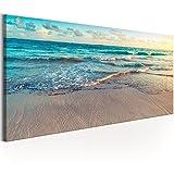 murando Bilder Strand Meer 150x50 cm - Leinwandbild - 1 Teilig - Kunstdruck - Modern - Wandbilder XXL - Wanddekoration - Design - Wand Bild - Landschaft Natur c-B-0358-b-a