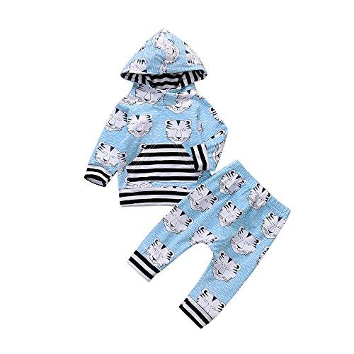 Funnycokid Weihnachten Kostüm Baby Mädchen Junge Kleidung Neugeborenes Kind 2Pcs Tiger Tier Hoodie Sweatshirt Gestreifte Tops+Hosen Outfits (Tiger Gestreifte Kostüme)