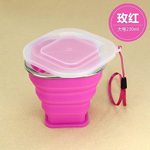 Tragbare mini Falten cup Silikon Teleskop Becher mit Deckel outdoor Ausflüge Wasser waschen Cup 210/230 ml, 230 ml besser Rot (Waschen Pong Bier)