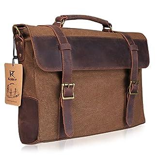 51XBkUY3mnL. SS324  - Kattee Lienzo-Maletín de Piel para Ordenador Portátil de 15Pulgadas (Messenger Satchel Bag