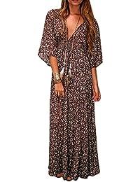 ZEARO Sexy Femme Col V Robe Imprimée Manche 3/4 Maxi Dress Beache Casual Robe Plage Avec Ceinture Grande Taille Bohême