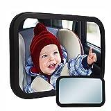 YZCX Rücksitzspiegel fürs Baby 100% Bruchsicherer Auto-Rückspiegel für Babyschale 360° schwenkbar Sicherheitsspiegel Babyspiegel Autositz-Spiegel schwarz
