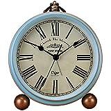 Best Vintage Alarm Clocks - Saytay Classic Retro Clock, Blue Metal European Style Review