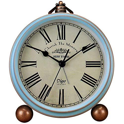Saytay Reloj clásico Retro, Estilo Europeo de Metal Azul, Estilo Vintage, silencioso, Reloj Despertador...