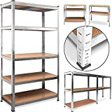 Deuba® Heavy Duty Industrial Shelving Unit 5 Tier Garage Metal Racking Galvanized Storage Shelves Steel MDF Boltless | 875Kg Capacity | CONVERTS TO WORKBENCH | Silver 180x90x40cm