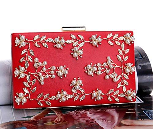 Frizioni Donna Sera Pochette Borsetta Portafoglio Partito Cerimonia Borsa Sposa Spalla Eleganti Fiore Oro Red