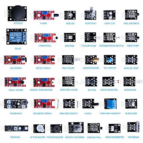 ELEGOO 37-en-1 Pack de Kit de Módulos Sensores con Tutorial Gratis en PDF para Arduino UNO, Mega, Nano, Arduino Sensor Sensores Kit Raspberry Sensores Kit