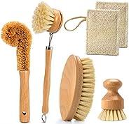 مجموعة فرش تنظيف المطبخ، مجموعة فرش تنظيف صديقة للبيئة من 6 قطع، فرش أطباق منزلية مع مقبض خشبي وشعيرات من أليا