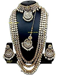 Apsara Art Jewellery Copper/alloy Metal Gold Plated Off White Pearl Traditional Kundan Jewellery Set(combo Long...