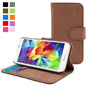 Snugg™ Galaxy S5 Case - Leather Flip Case with Lifetime Guarantee (Distressed Brown) for Samsung Galaxy S5