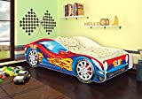 Best For Kids Autobett Junior in vier Farben mit Lattenrost 70x140 cm Top Angebot! (Rot-Blau ohne Matratze)