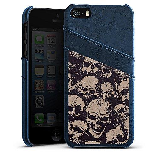 Apple iPhone 4 Housse Étui Silicone Coque Protection Crâne Méchant Gothique Étui en cuir bleu marine