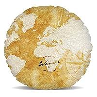 Excellent design pour toute personne qui aime les voyages, cela montre une carte du monde d'or, avec les mots Wander jusqu'à ce que vous trouvez votre destination superposé.Ce beau coussin de décoration d'intérieur est si doux et moelleux, vous ne pe... [Méridienne]