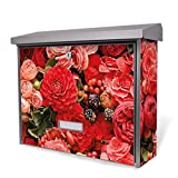 BURG-WÄCHTER Edelstahl Briefkasten, Motivbriefkasten Modell Secu Line 31,5 x 38,5 x 11,5cm, Design Briefkasten mit Motiv Bouquet in Rot