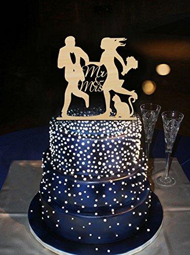 Running Bräutigam und Braut führen Blume mit Lovely Cat Design Kuchen Topper MR & MRS Hochzeit Dekoration Tortenaufsatz Benutzerdefinierte Farbe