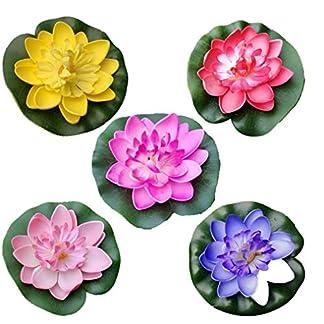 PiniceCore 5pcs Artificiales Flores de Loto flotantes del Lirio de Agua de EVA Flor de Loto de la charca de decoración