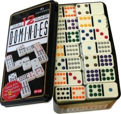 Domino Couleur Double 12 en Boîte en métal 91 Pièce avec Colorés à pois