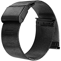 Buwico® 18/20/22/24mm Stainless Steel Watch Mesh Bracelets Straps Replacement Band, Black (22 MM)