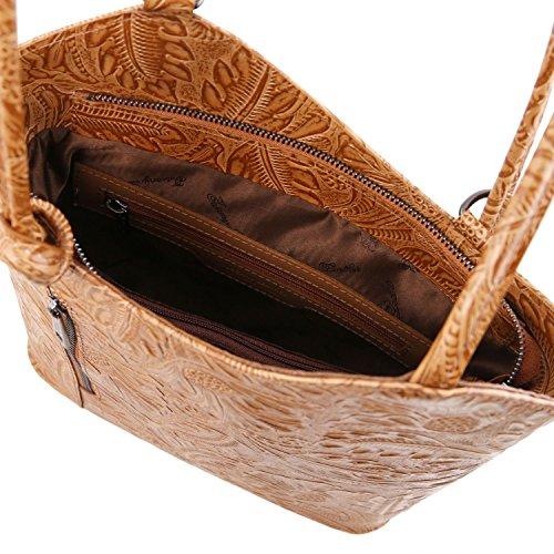 Tuscany Leather Patty Borsa donna convertibile a zaino in pelle stampa floreale - TL141676 (Rosso) Cognac