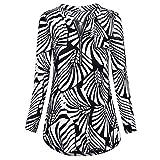 JERFER Damen Langarm Rundhalsausschnitt Basic T-Shirt Gestreifte Hemden Tunika Top Bluse