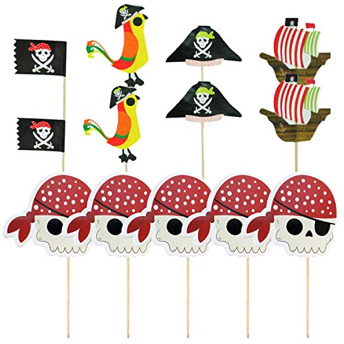 45 stücke Pirate Cupcake Topper Kuchen Picks Dekorationen für Piraten Thema Geburtstag Halloween Party Supplies