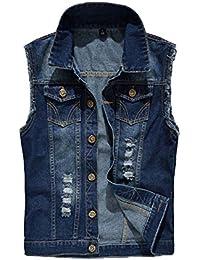 e549198a9e2a Top Hommes Classique Slim Rétro Destoryed sans Manches Denim Gilet Casual Jeans  Gilet Veste Poches Cowboy