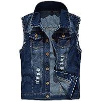 Huateng Mens Top Designed Fashion Sleeveless Jacket Outerwear Vest Tops Casual Slim Fit Cowboy Denim Waistcoat Vest Jeans Gilets
