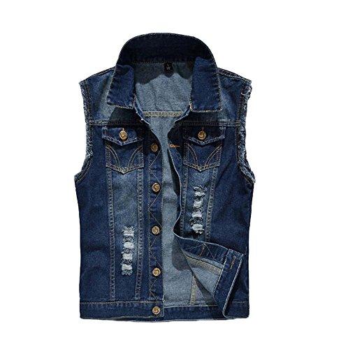 Top Männer Klassisch Schlank Retro Desodoriert Ärmellos Denim Weste Lässige Jeans Gilet Jacke Taschen Cowboy Weste Outwear (Jeans-jacken Für Männer)