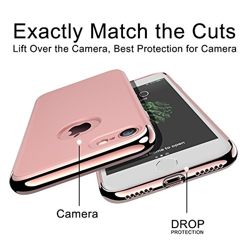 Custodia iPhone 6, 360 Gradi della copertura completa 3 in 1 Hard PC Case Cover Stilosa Protettiva Bumper Antiurto Antigraffio Posteriore Copertura per iPhone 6s Plus rose gold