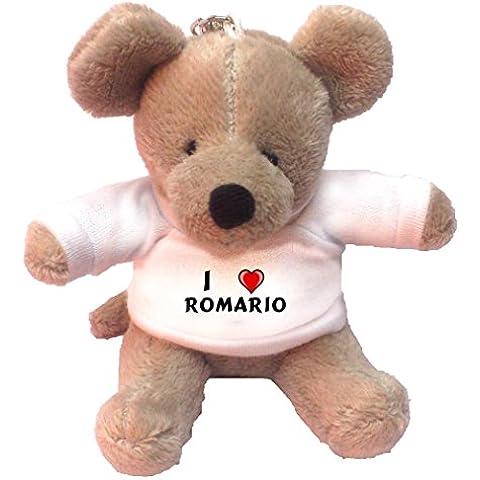Llavero de ratoncito de peluche con Amo Romario en la camiseta (nombre de pila/apellido/apodo)