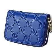iSuperb® RFID Blocage carte de crédit portefeuille cuir véritable carte d'identité de la carte de sécurité voyage titulaire /cas/ sac à main/poche avec fermeture éclair pour les femmes dames filles 11.5x8x3.5cm (Bleu royal)